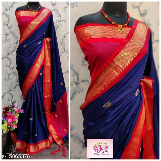 Shree silk Blue and Red Pethni Design saree