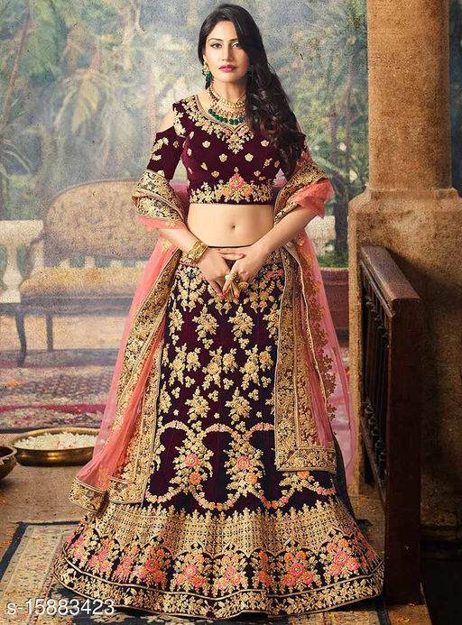 Latest Design Premium Embroidery Lehenga Choli-Rajwadi-Maroon-Free Size