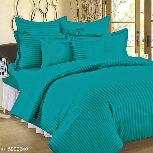 LUXURY PREMIUM TURQUOISE BLUE COTTON SATIN STRIPED BEDSHEET WITH TWO PILLOW COVER