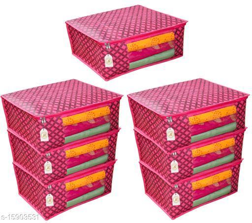 Presents Non Woven Saree Cover Storage Bags Saree Organizer for Wardrobe/Organizers for Clothes/Organizers pack of 7 (90 GSM) Clothes cover(Red Checks)