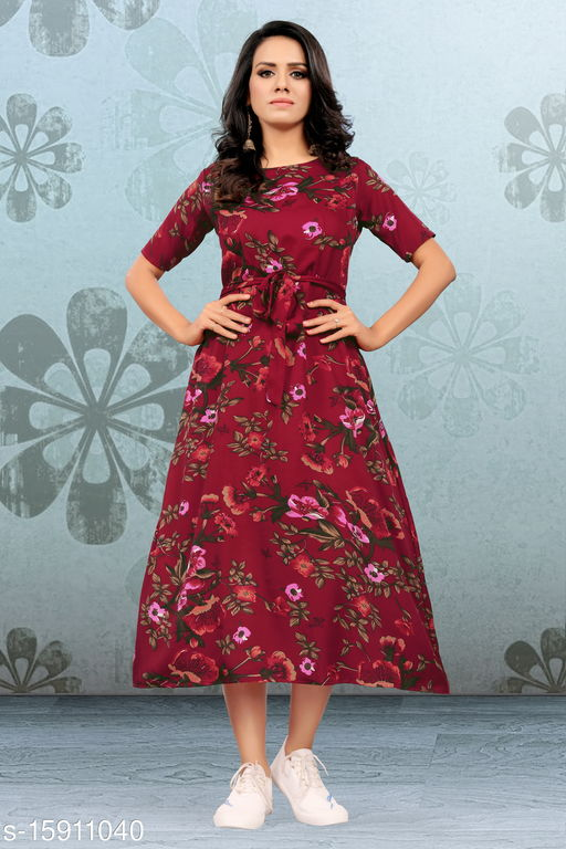 Trendy Fancy Maxi Dress With Belt And  This Dress Is Superb Stitching And Good Looking .