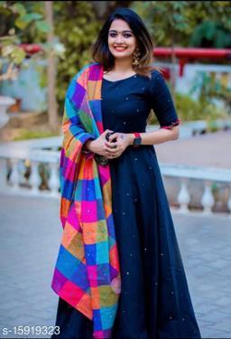 Women Cotton Anarkali Gown