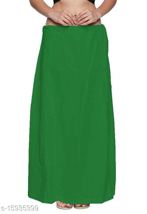Pure Cotton Saree Petticoat Green Color Free Size