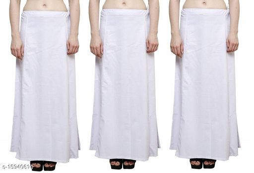 Cotton Petticoat-White-8Part(Pack of 3)