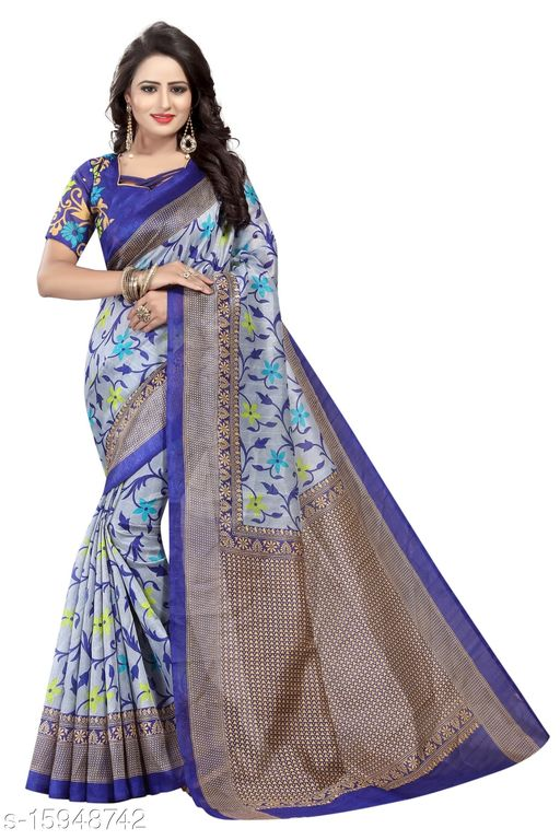 Art Silk Printed Saree (Blue_Free Size)-01
