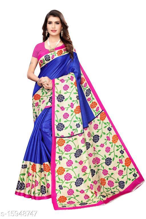 Khadi Silk Kalamkari Saree (Blue_Free Size)-01