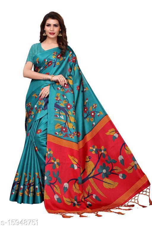 Khadi Silk Kalamkari Saree (Rama_Free Size)-01
