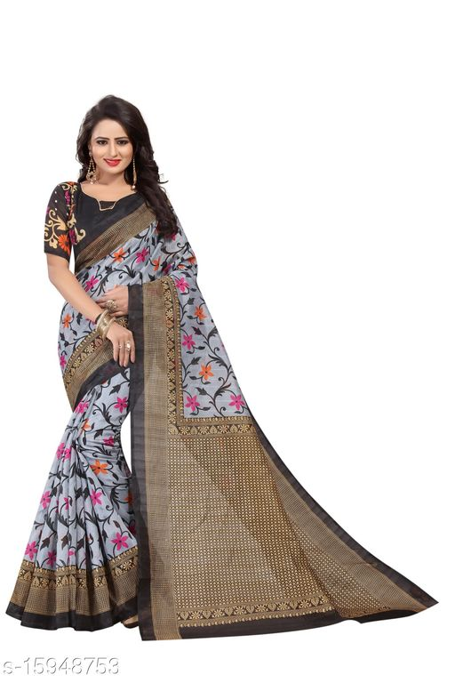 Art Silk Printed Saree (Black_Free Size)-01