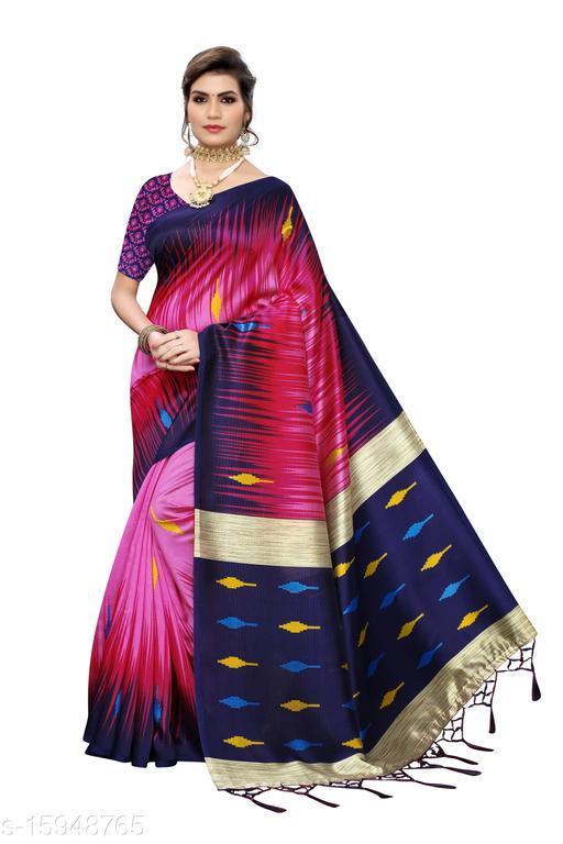 Art Silk Printed Saree (Pink_Free Size)-01