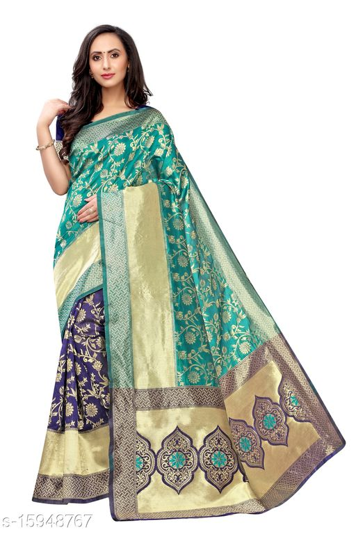 Banarasi Silk Jacquard Work Saree (Rama-Blue_Free Size)-01