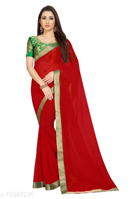 Chiffon Jacquard Lace Work Saree (Red_Free Size)-01
