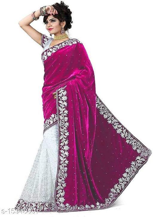 Velvet & Rasal Net Half & Half Saree (Pink _Free Size)-01