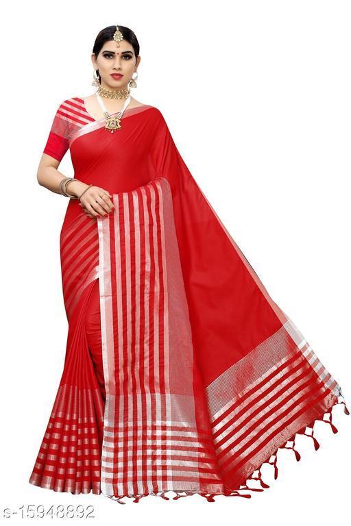 Cotton Silk Striped Saree (Red_Free Size)-01