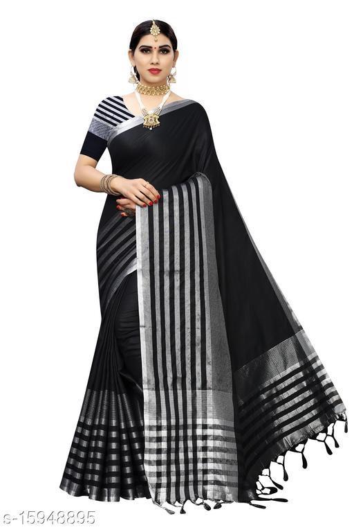 Cotton Silk Striped Saree (Black_Free Size)-01