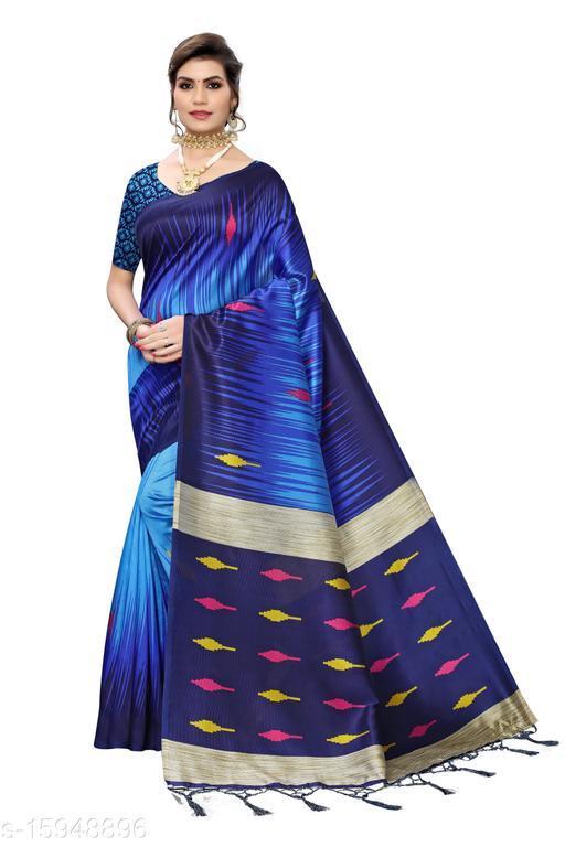 Art Silk Printed Saree (Navy_Free Size)-01