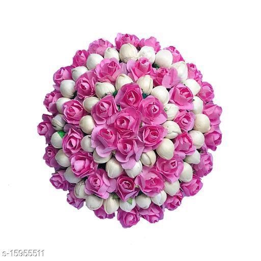 VinshBond Flower Hair Gajra Mogra Hair GajraBun for Women And Girls Bun Styling Accessories, Pack of 1, Pink