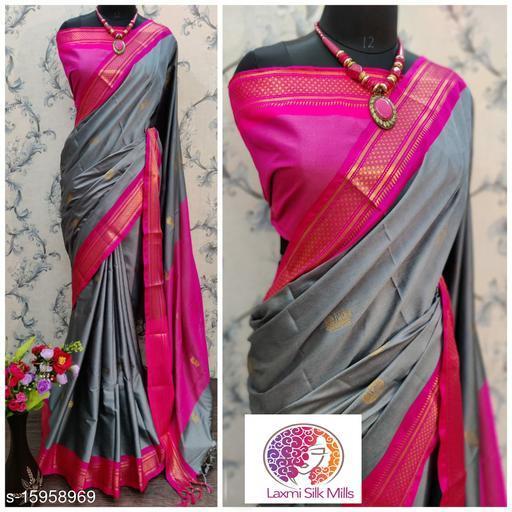 Laxmi silk Grey and Pink Pethni Cotton silk saree