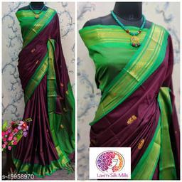 Laxmi silk Purple and Green Pethni Cotton silk saree