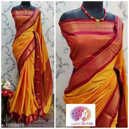 Laxmi silk Gold and Red Pethni Cotton silk saree