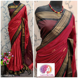 Laxmi silk Red and Black Pethni Cotton silk saree