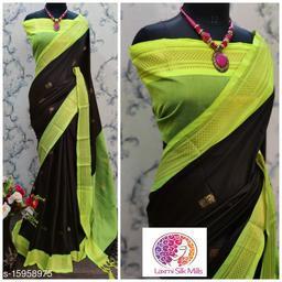 Laxmi silk Black and lemon Pethni Cotton silk saree