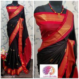 Laxmi silk Black and Red Pethni Cotton silk saree
