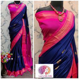 Laxmi silk Blue and Pink Pethni Cotton silk saree