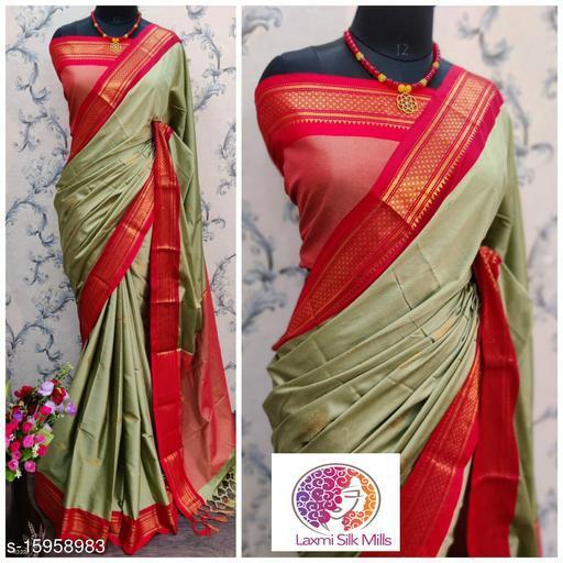 Laxmi silk Chiku and Red Pethni Cotton silk saree