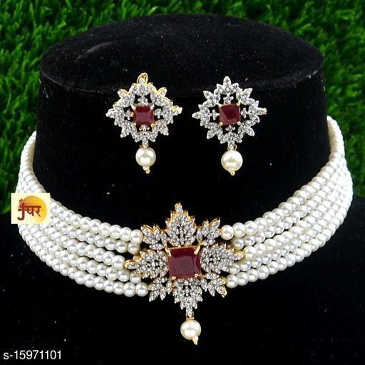 American diamond and pearl choker women's set