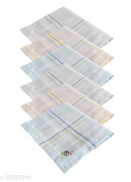 S4S 6 Piece Pack Men's 100% Cotton Luxury Handkerchiefs (Light Colored_46CM X 46CM)