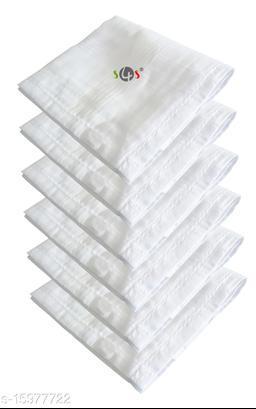 S4S 6 Piece Pack Men's 100% Cotton Luxury Handkerchiefs (White_46CM X 46CM)