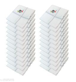 S4S 24 Piece Pack Men's 100% Cotton Luxury Handkerchiefs (White Striped_46CM X 46CM)