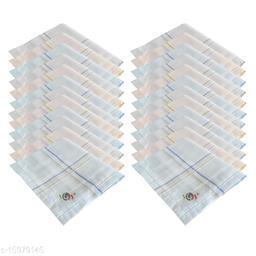 S4S 24 Piece Pack Men's 100% Cotton Luxury Handkerchiefs (Light Colored_46CM X 46CM)