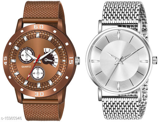New Arrival Top Selling Brown Dial Brown Pu Strap Analogue Combo Watch For You KJR_539_KJR_8114