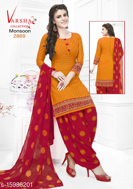 Varsha Monsoon Synthetic Crepe Dress Material And Suites (Un-stitched)