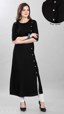 Women's Solid Black Rayon Kurti
