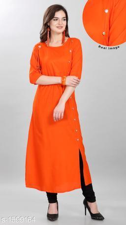 Women Rayon High- Slit Solid Orange Kurti