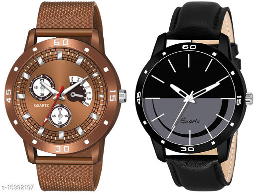 New Arrival Top Selling Brown Dial Brown Pu Strap Analogue Combo Watch For You KJR_539_KJR_454