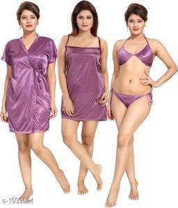 Trendy Satin Night Dress Set(Pack Of 4)