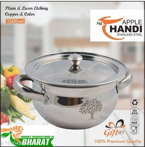 Apple Handi with laser disign 1.5 L with Lid  (Stainless Steel)