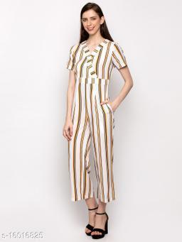 Stylish Crepe strip Print Jumpsuits