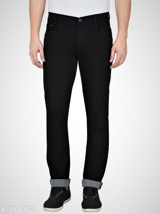 Black Mens Regular Fit Mid Rise Stretchable Silky Denim Jeans