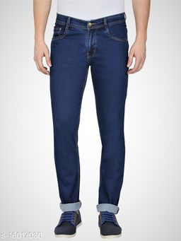 Navy Blue Mens Regular Fit Mid Rise Stretchable Silky Denim Jeans