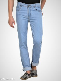 Ice Blue Mens Regular Fit Mid Rise Stretchable Silky Denim Jeans