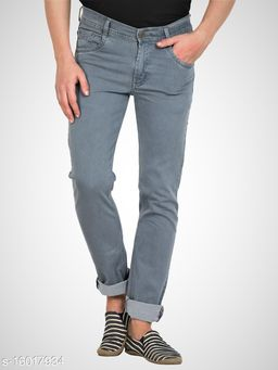 Grey Mens Regular Fit Mid Rise Stretchable Silky Denim Jeans