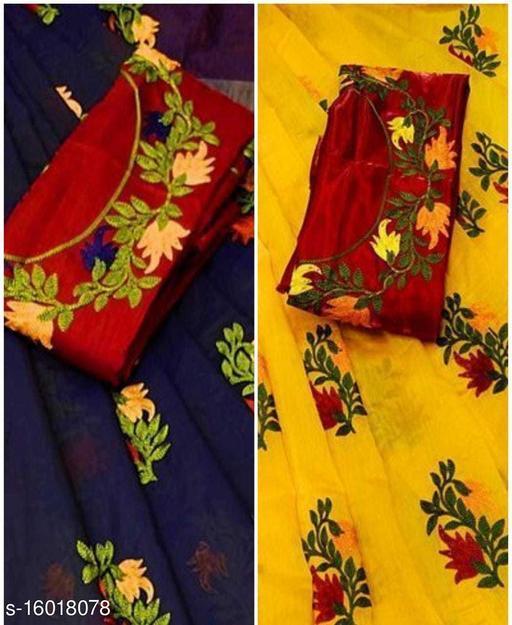 trendy chanderi cotton combo saree