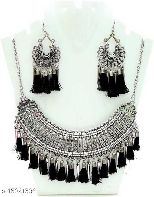 BSINT Brings to you this Necklace set which is made from Silver Black alloy with Tassel  ideal for woman and girls