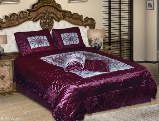 Jaxmom Luxury Satin VIP Bedsheet (Set of 3 Pieces) 1 Bedsheet :: 2 Pillow Cover (Purple)