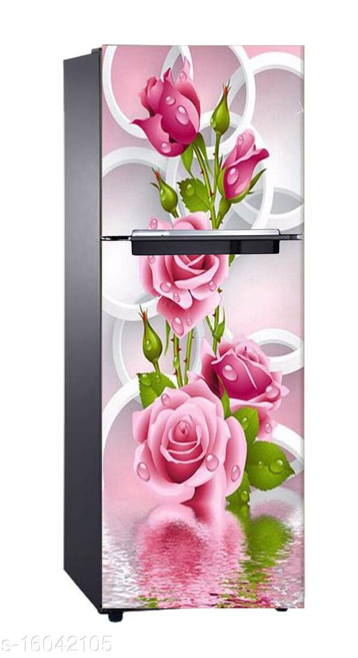 Global Graphics Beautiful Fridge Decoartive Sticker Wallpaper Poster Abstract Design Pink Rose With Leaves Multicolor Colorful (Pvc vinyl)