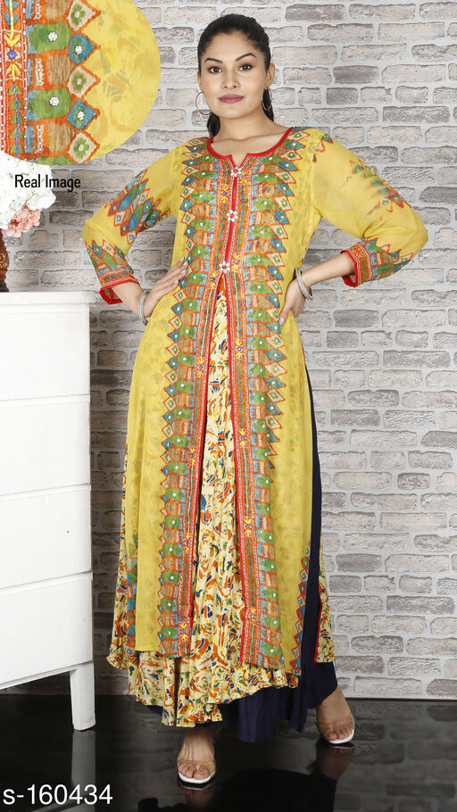 *😍😍See the Video* https Kurtis & Kurtas Trendy Rayon Inner Kurti & Chiffon Outer Kurti  *Fabric* Inner Kurti - Rayon, Outer Kurti - Chiffon 